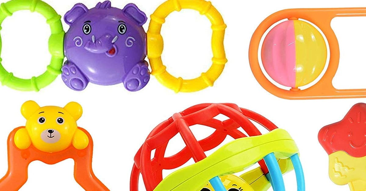 Read more about the article Colourful Plastic Non Toxic Set of 8 Attractive Rattle for New Borns